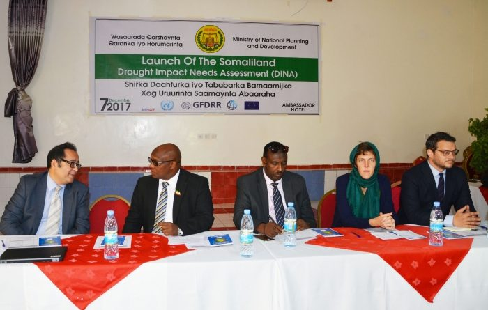 Somaliland Ministers and representatives from the European Union and the World Bank attend DINA meeting in Hargeisa. From left to right: Mr. Sultan Hajiyev, UNDP; H.E. Mohamed Ibrahim, Minister of National Planning and Development for Somaliland; H.E. Hussein Abdi Boss, Minister of Water and Natural Resources for Somaliland; Ms. Pauline Gibourdel, European Union; and Mr. Matthias Mayr, World Bank